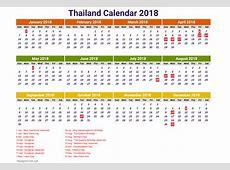 2018 calendar thailand thailand 2018 holiday calendar