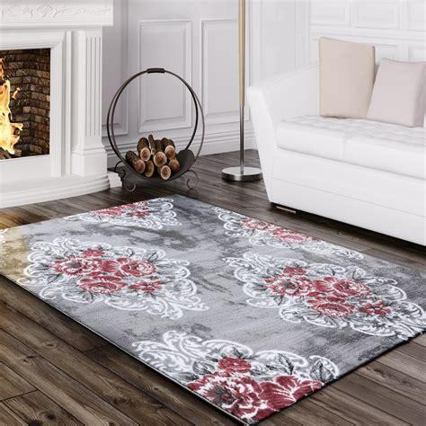 vintage teppich grün designer teppich edel mit vintage blumen muster meliert in grau creme rosa teppiche vintage teppiche