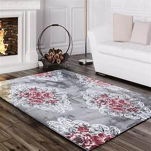 Designer teppich edel mit vintage blumen muster meliert in for Balkon teppich mit blumen tapete retro