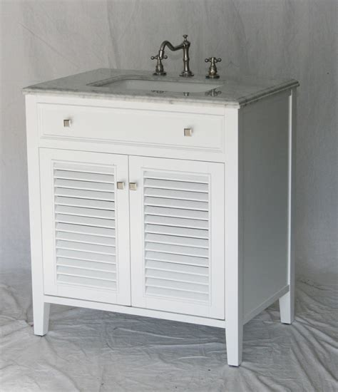 32 Inch Bathroom Vanity Pure White Coastal Cottage Beach