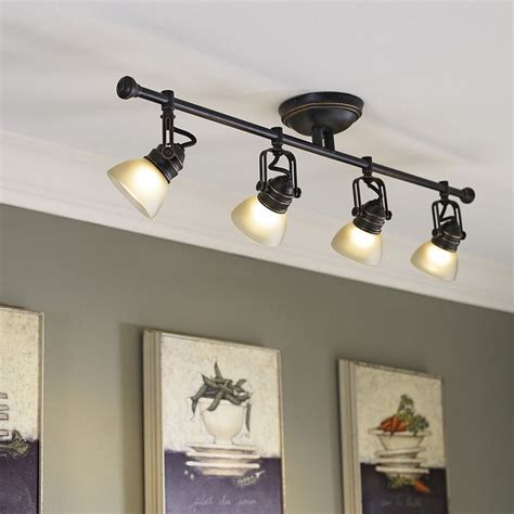 lowes lighting for kitchen shop allen roth tucana 4 light rubbed bronze 7275