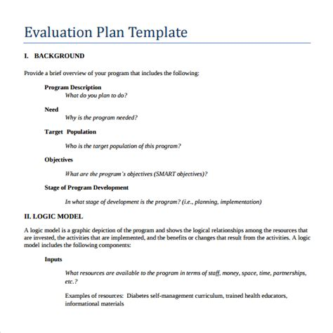 evaluation plan template 9 evaluation plan templates sle templates