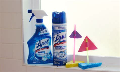 lysol power foam bathroom cleaner tub time boat float craft make and takes