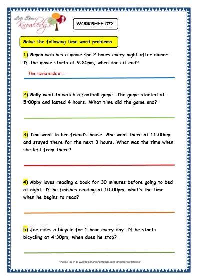 grade 3 maths worksheets 8 5 time problems lets share