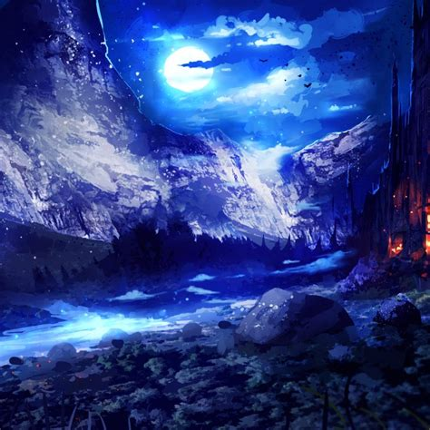 blue landscape fantasy night wallpaper  desktop mobile phones wallpapers find