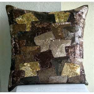 decorative throw pillow covers 16x16 brown silk by
