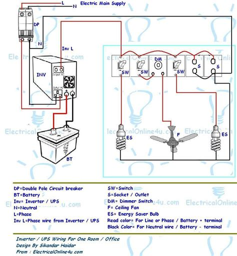 ups inverter wiring diagram for one room office electrical 4u electrical