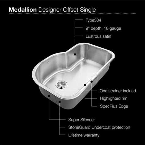 undermount offset single bowl sink kitchen sinks medallion designer series undermount