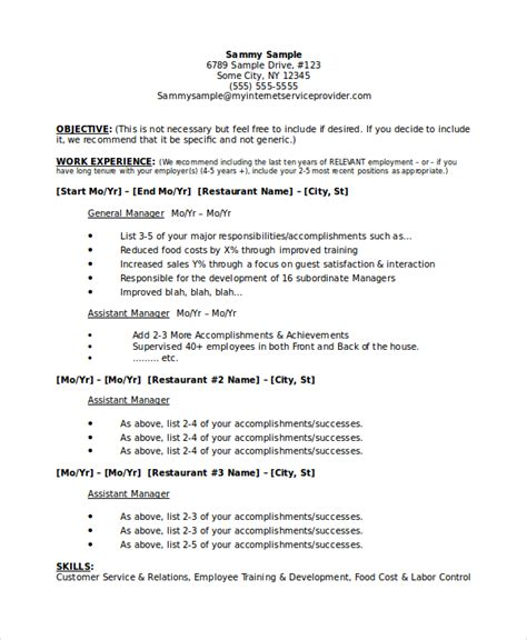 restaurant manager resume template   word