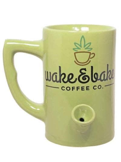 """Cool coffee mugs with exclusive artwork we decided there were not enough wake and bake coffee mugs out there. """"Wake & Bake Coffee Co."""" Mug (Green) 