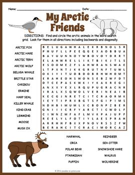 arctic animals word search puzzle  puzzles  print tpt