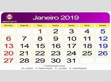 Calendário de Janeiro de 2019 webcid