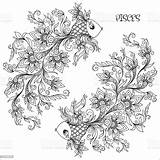Zodiac Pisces Coloring Sign Pages Fish Drawn Line Signs Hand Horoscope Drawing Tattoo Shutterstock Symbol Pattern Books Adult Flowers Astrology sketch template