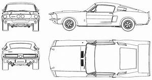 CAR blueprints - 1967 Ford Mustang Shelby GT500 Coupe