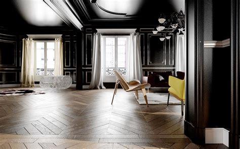 murs  plafond peints en noir dans ce salon pour