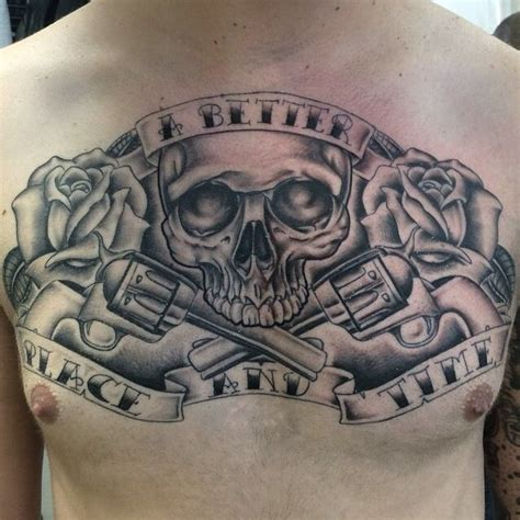black  grey chest piece skull guns  roses tattoo  kevin evans finished today  taurus