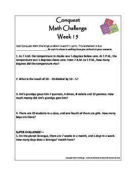 conquest math week enrichment math word problem solving 2nd 5th grade