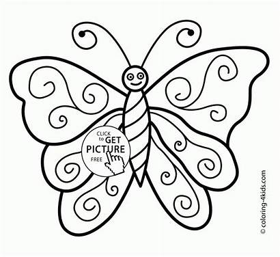Butterfly Coloring Simple Pages Colouring Drawing Printable