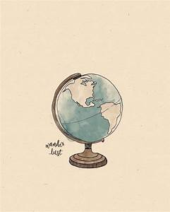 Around the World GLOBE Illustration Print by AnAprilIdea ...