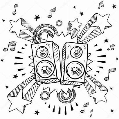 Stereo Speakers Background Sketch Pop Illustration Vector