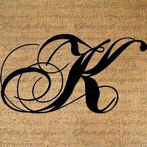 monogram initial letter k digital collage sheet burlap With monogrammed letter sheets