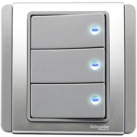 schneider clipsal neo e3000 c metro grey silver 3 1 way 10a switch with blue led indicator