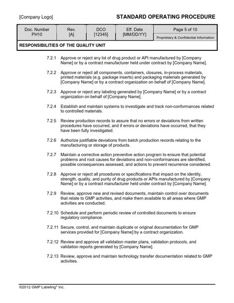 Responsibilities Of The Quality Unit Sop Template Ph10