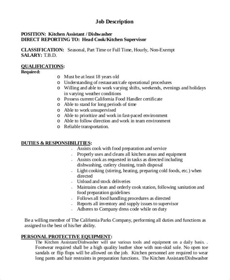 Dishwasher Duties by Sle Dishwasher Description 8 Exles In Pdf Word
