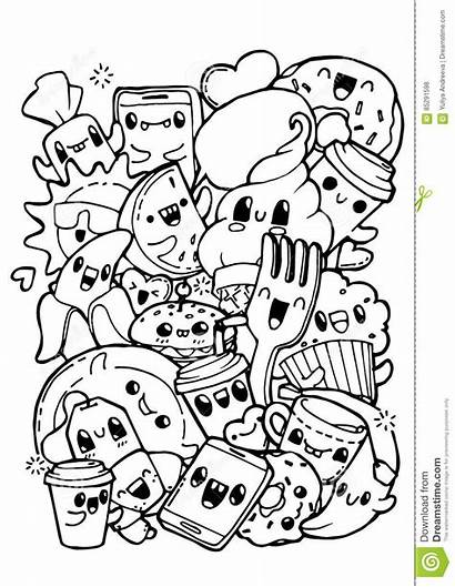 Doodle Coloring Doodles Pages Dining Doodling Adult