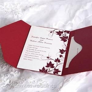 red autumn leaves pocket wedding invitations iwps074 With wedding invitations red hill