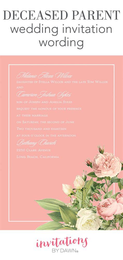 deceased parent wedding invitation wording invitations