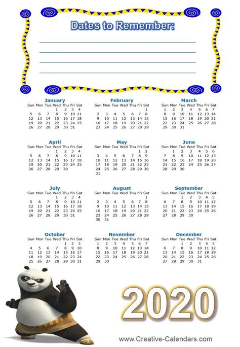 printable kung fu calendars
