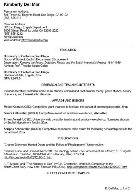Ucsd My Resumes by Uc San Diego Cv Exle For Undergraduate Students Visit Website To View Page Two Of Sle Cv