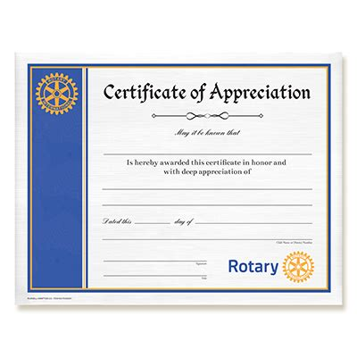 Rotary Certificate Of Appreciation Template by Rotary Certificate Of Appreciation Rotary Club Supplies