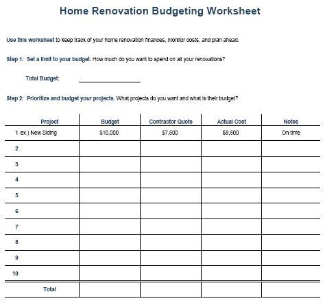 home remodel budget sheet templates  sample templates