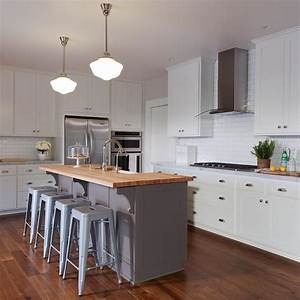gray kitchen island with butcher block top transitional With kitchen colors with white cabinets with wooden race track wall art