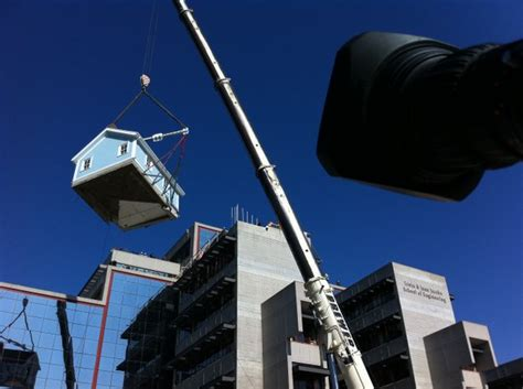 ucsds stuart collection features house hoisted  stories