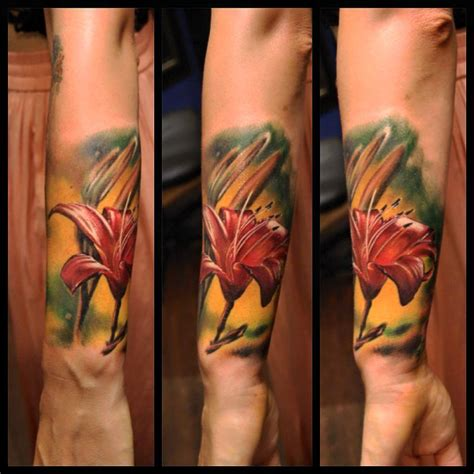 tattoo realism color color flower flowers tattooing