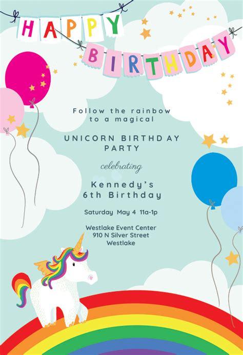 unicorns rainbows birthday invitation template