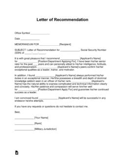 military letter  recommendation templates samples