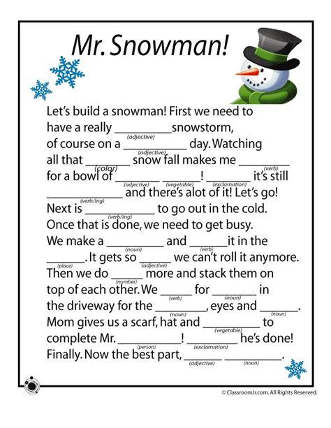 winter mad libs winter mad libs mr snowman classroom