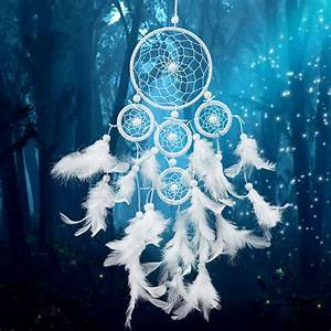 White Dreamcatcher Wind Chimes Indian Style pearl Feather