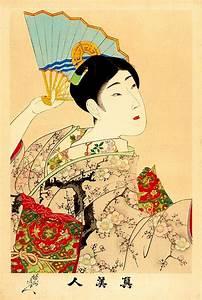 Geisha with a fan, japanese art, geishas paintings and ...