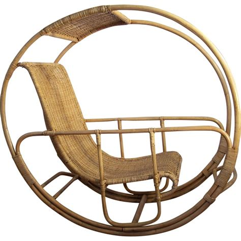 dondolo rocking chair in rattan and wicker franco