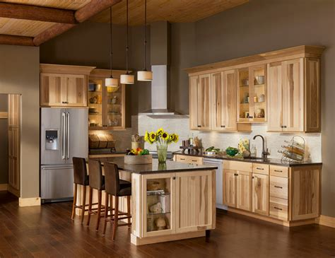 american woodmark cabinets colors the lodge look rustic charm of shorebrook hickory