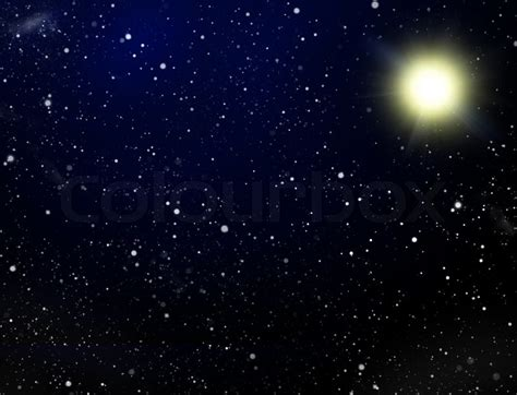 Space. A congestion of stars and sun
