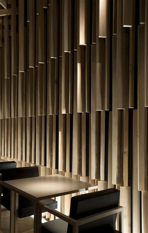 wooden wall designs sakenohana kuma wood feature wall interiors restaurants pinterest