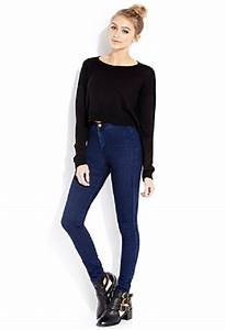 Jeans high waisted blue skinny girl fashion great pants clothes forever 21 sweater ...