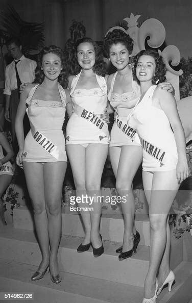 Four Latin American contestants in the 1955 Miss Universe