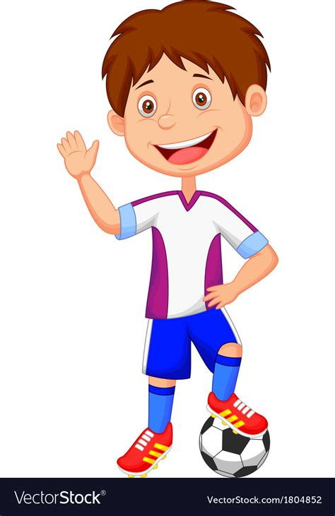 Cartoon Kid Playing Football Royalty Free Vector Image